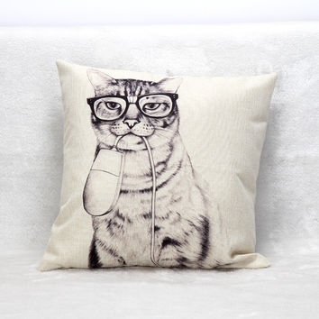 Vintage Covers Throw Pillow Cases Europe Style Cat Mouse Linen Fundas De Cojines Seat Home