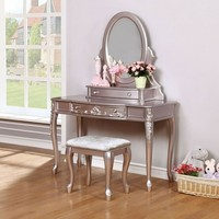 3 pc Caroline collection metallic lilac finish wood bedroom make up vanity sitting table set with mirror