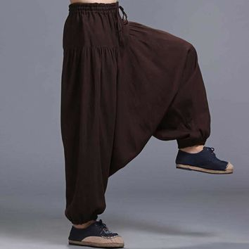Men's Vintage Cotton Linen  Hippy Boho Aladdin Harem Wide leg Ninja Pants Trousers Casual Nepal Mens Indian Aladdin Pants XL