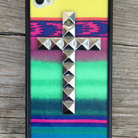 Aztec Silver Studded Cross v2 iPhone 4/4s Case   Wildflower cases