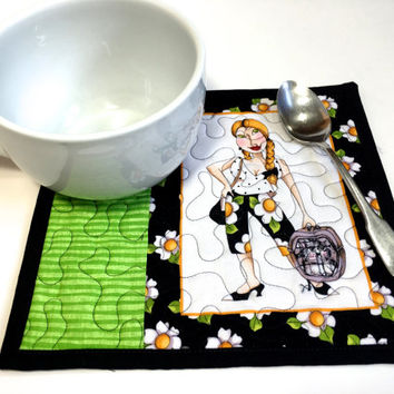 Quilted Kitty Mug Rugs - Cat Lovers Gift - Set of 2 Quilts - Green and Black - BFF Gift - Crazy Cat Lady - Reversible Quilt Placemats Fiber