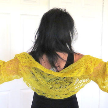 Yellow mohair shrug, luxury knit silk sweater with crochet edges, fine knit outerwear