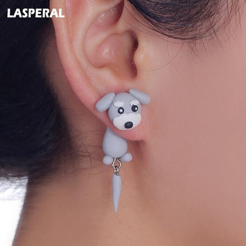 LASPERAL Handmade Cute Lovely Schnauzer Dog Earrings With tail polymer Clay Stud Earrings Women ear Jewelry Animal Earrings