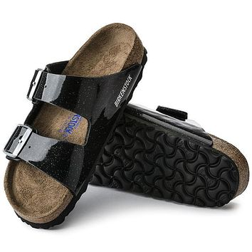 Best Online Sale Birkenstock Arizona Soft Footbed Birko Flor Magic Galaxy Black 57633