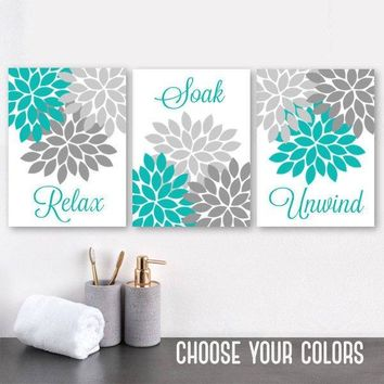 Turquoise Gray BATHROOM DECOR, Bathroom WALL Art, Canvas or Print, Floral Bathroom Wall Decor, Relax Soak Unwind, Bathroom Quotes, Set of 3