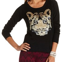 Sequin Tiger Pullover Sweater: Charlotte Russe