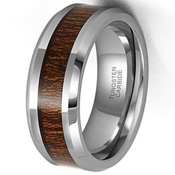 CERTIFIED 8mm Tungsten Carbide Wood Inlay Wedding Ring Comfort Fit