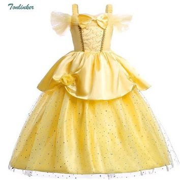 Girls Cosplay Belle Halloween Christmas Costumes Off Shoulder Dress up Deluxe Ball Gown Dresses 2-8 yr Kids Party Dress vestido