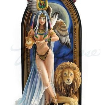 Priestess by Ruth Thompson Egyptian Isis Goddess with Cat Lion and Vulture Statue 10.6H