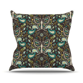 "Suzie Tremel ""Butterfly Garden"" Brown Teal Throw Pillow"