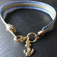Nautical Zipper Bracelet with Anchor Charm by SugarandSoySauce