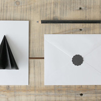 Geometric Shape Greeting Card Abstract 3D Minimalist Origami Pop Up Out Black White Handmade Blank Cards Minimal Modern Xmas Winter Holiday