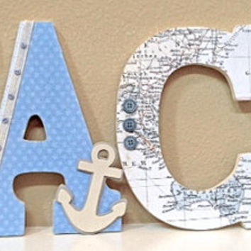 Nautical Room Decor, Custom Wooden Nursery Letters -Nautical theme- Baby Boy- Personalized Name- any color, theme, bedding- The Rugged Pearl