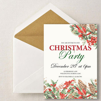 Instant Download-Christmas Holly Party Vintage Retro DIY Printable Invitation Holiday Xmas Party Occasion Wedding Shower Birthday