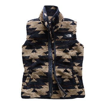 Women's Campshire Sherpa Vest in Weimaraner Brown California Basket Print by The North Face