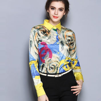 2016 Spring New Fashion European style Elegant Vintage long sleeve Shirt Top Quality Silk Chiffon Print Women Blouses Plus Size