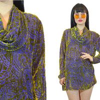 vintage 90s sheer velvet burnout tunic purple + green filigree paisley velvet cowl neck GLAM oversized shirt blouse gauzy small