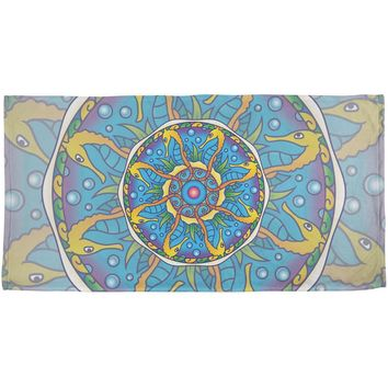Mandala Trippy Stained Glass Seahorse All Over Beach Towel
