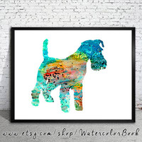 Fox Terrier Watercolor Print, Home Decor, dog watercolor, watercolor painting, Fox Terrier art, animal watercolor, dog art, dog poster