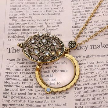 Hot Magnifier Pendant Necklace Magnify Glass Reeding Decorative Monocle Necklace For Women Men Pendant Jewelry ping #117