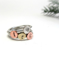Stamped Stack Rings ltr, Set of 4 Stackable Rings, Sterling Rings with Brass, Copper, and Silver Stamped Discs, Gift for Teens