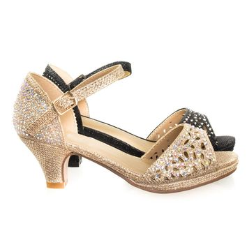 Fantastic92k Children Girl's Bling High Block Heel Dress Sandal w Rhinestone Stud & Glitter