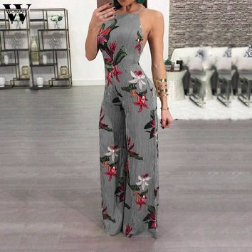 Womail bodysuit Women Summer Casual Stripe Printed Sexy Trouser Casual Rompers Long Bohemia Jumpsuit fashion new2019 dropship M1