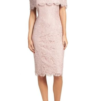 Eliza J Off the Shoulder Lace Sheath (Regular & Petite) | Nordstrom