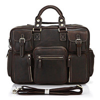 Elite Leather Bags — Vintage Handmade Genuine Crazy Horse Leather Business Travel Bag /Duffle bag/Luggage Bag(2)