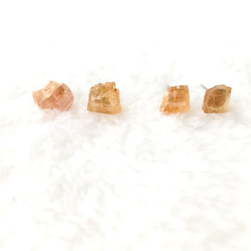 Raw Topaz Earrings, Natural Crystal Stone Studs, Yellow, Orange Gemstone Earrings, Rough, Nugget, Minimalist, Edgy, Surgical Steel Posts