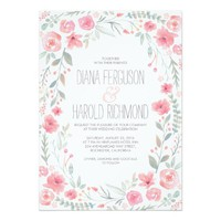 Watercolor Floral Wreath Garden Wedding Invites