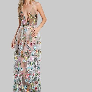 Double Strap Embroidered Mesh Dress Multi color Spaghetti Strap Deep V Neck Sexy A Line Maxi Dress