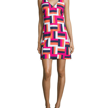 Sleeveless V-Neck Geometric-Print