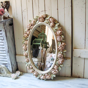 Oval Antique Cream and Blush and Mint Vintage Rose Mirror, Pink and Mint Oval HOMCO Floral Ornate Mirror Shabby Chic Pink Nursery Mirror