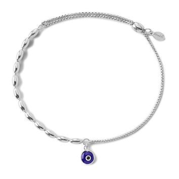 Alex and Ani Evil Eye Fancy Bead Pull Chain Bracelet - Sterling Silver