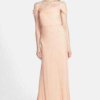 Women's Jenny Yoo 'Sabine' Drop Shoulder Crepe de Chine Gown