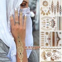 4pcs new Indian Arabic designs golden silver flash tribal henna tattoo paste metalicos metal tatoo sticker sheets on body hand