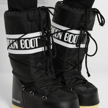 Moon Boot   Piqué-shell and faux leather snow boots   NET-A-PORTER.COM