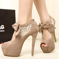 Sexy Korean Women's Casual Bowknot Lace Fish Mouth High Heel Platform Shoes 1n0