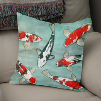 «Le ballet des carpes koï», Numbered Edition Coussin by Savousepate - From 25€ - Curioos