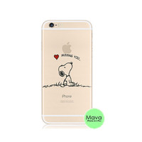 Snoopy Missing You Heart iPhone 6s 6 Plus 5s 5 Case Transparent Clear Soft Silicone Rubber Printed Cover Case Free Worldwide Shipping