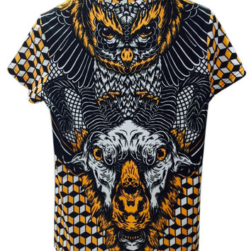 Multicolor  Geometric Goat And Owl Printed T-shirt