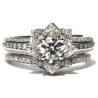 Wedding SET - UNIQUE Flower Rose Diamond Engagement Ring and Wedding band set - 2.55 carats - 14K - fL01-S