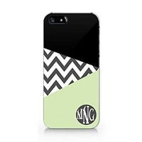 Chevron Monogram Personalized Unique Custom Initials Iphone 5 Case, Iphone 5S Case Plastic Case Cover Iphone 5/5S-Emerishop (MAA340) (M431)