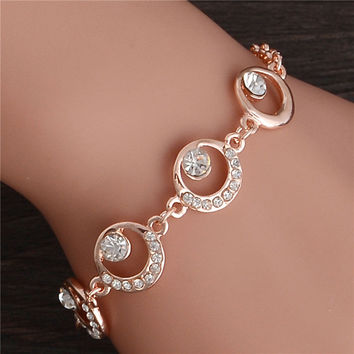 Trendy Summer New Fashion  Round Crystal Jewelry charm bracelet & anklet for women Hot bracelets for women