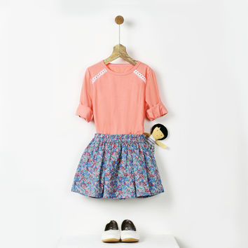 Floral Print Linen Skirt with Pockets