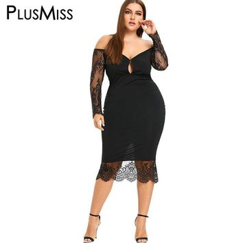 PlusMiss Women's Plus Size Hollow Out Off The Shoulder Black Lace Long Sleeve Sheer Mesh Dress