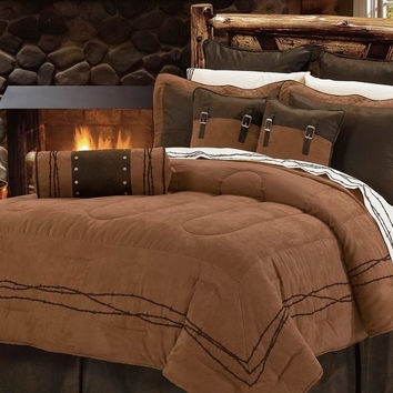 Luxury Rustic Western Barbwire Camel Brown Comforter - 5 Piece Set