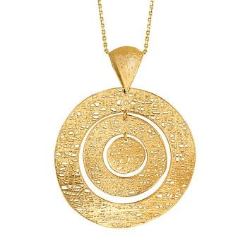 """14k Yellow Gold Birds Nest Weave Inspired Circles Design Pendant Necklace, 18"""""""