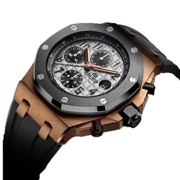 Men Quartz Watch Rose gold Chronograph Sports Watch Shockproof 30m